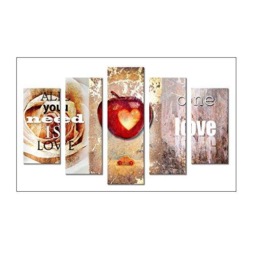 broadroot 5D Full HSS-Diamant in Herzform, 5-combination Kits DIY Stickerei Naht Kreuzstich Arts Craft Kit für Haus Wand Büro Wohnzimmer Schlafzimmer Decor Love A -