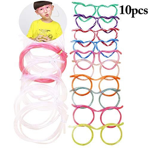 FunPa 10 STÜCKE Trinkhalm Kreative Gläser Geformt Kunststoff Stroh Party Stroh für Kinder