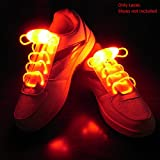 Enem LED Light Up Shoelaces- High Visibility Flashing for Night Running Biking, Clubbing, Rave, Birthday, Disco, Hip-hop Dancing, and Dubstep Party-(01 Pair)-Orange