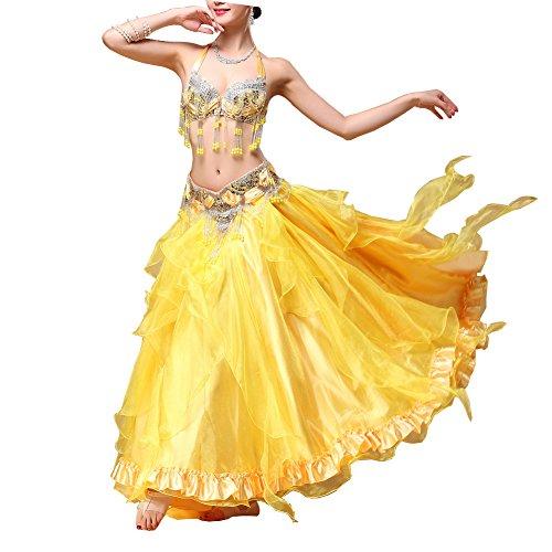 üm Frauen Kristall/Strass Perlen Performance BH Rock Set,Yellow,L (Strass Bauchtanz Kostüme)