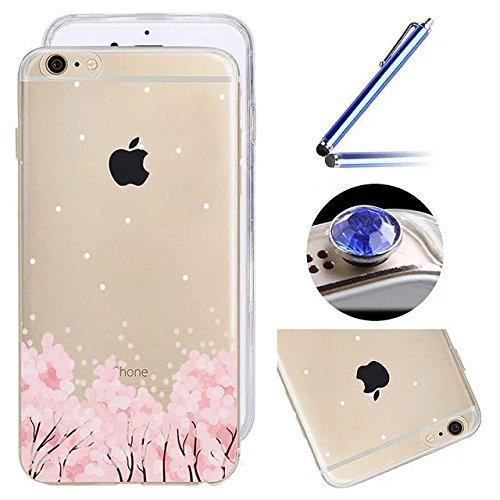 Etsue Fleur Cerisier de Coque pour iPhone 6 Plus,iPhone 6S Plus (5.5 Pouce),Frais Peinture Rose Fleur Motif de TPU Silicone Coque Housse pour iPhone 6 Plus,iPhone 6S Plus (5.5 Pouce),Silicone Crystal  11#