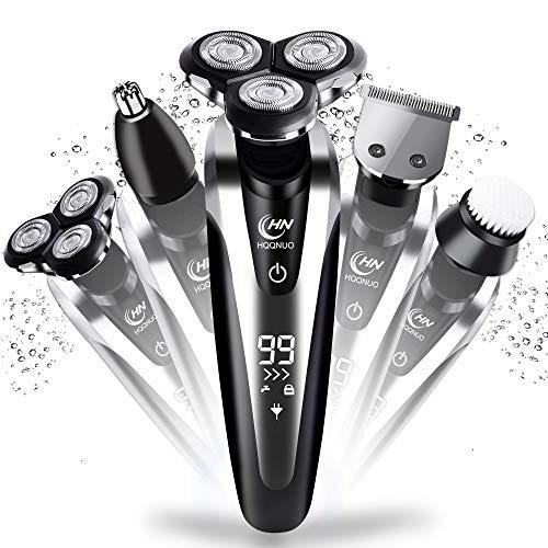Afeitadora Eléctrica Rotativa para Hombre, 5 en 1 Máquina de Afeitar Impermeable Recargable con LCD...
