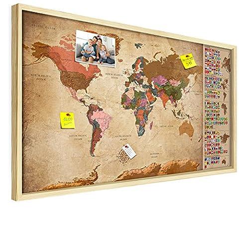 PINNWAND WELTKARTE - NEUHEIT - XL FORMAT: 100x50 cm   3D NATURHOLZ RAHMEN   Design-Weltkarte: Europa vergrößert!   Aktueller Stand - 2017   Solide Halterung   Top Deko-Idee fürs Zuhause & Büro Kork Korkwand Kontinente Lernkarte Welt