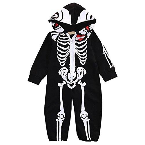 ngsbaby-mit Kapuze Spielanzug-lange Hülse Kühler Skeleton Muster-Overall size 6-12 Monate (Herren Skeleton Bodysuit)