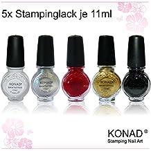 Konad Esmalte de uñas, 5 unidades, color blanco, negro, oro, rojo y plateado, pack de 5 x 11 ml