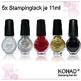 KONAD Stampinglack 5er-Set weiss, schwarz, gold, rot und silber - Vorteilspack [5x 11ml]