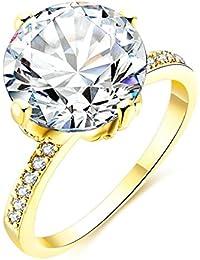 cfb6e858797223 Daesar Gioielli Placcato Oro Anelli Donna Anello di fidanzamento Grande  Rotondo Zirconi Anello