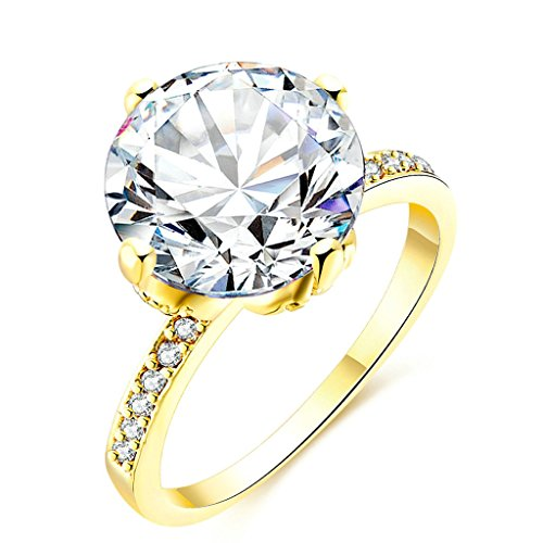 Bishilin Gold Plated Rings Womens Engagement Ring Gold Big Round Zirconia Finger Wedding Bands Size:P 1/2