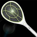 Xmcz Elektrische Fliegenklatsche Fliegenfänger Lithium-Batterie USB mit LED 3000V 3-lagiges Sicherheitsnetz Insektenvernichter Physischer Mückenkiller (Grün)