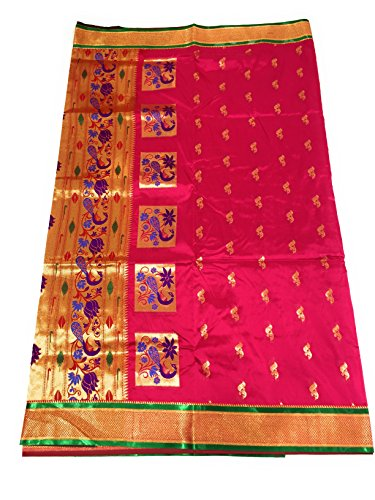 Hariom wholesale depo Silk Saree With Blouse Piece (Pshprani_Rani With Green Blouse_Free...