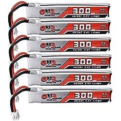 Drfeify 6pcs 3.8V 300mAh 30C / 60C 1S HV 4.35V PH2.0 Batería de Litio para Eachine TRASHCAN Snapper6