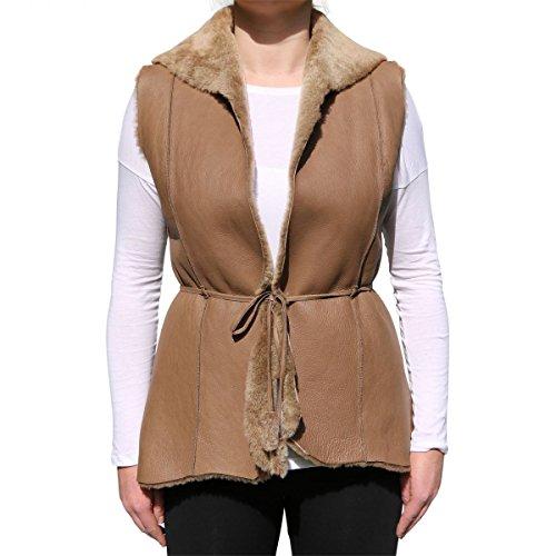 Veste en agneau - Ashanti Gilet femme fourrure Veste en cuir veste Beige