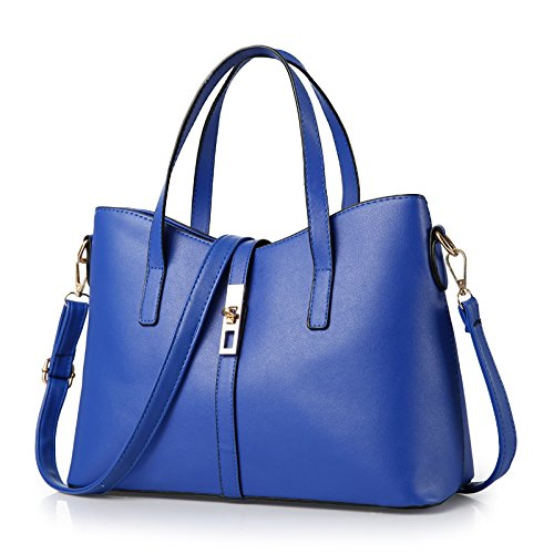 Mefly Donna Manico Corto Borsetta Argentata Sapphire blue