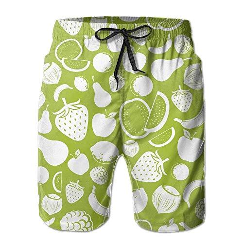 Royal White Salt (Ytavv Men's White Fruits Beach Shorts Casual Homewear/M)