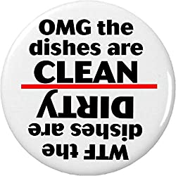 OMG the dishes are CLEAN / WTF the dishes are DIRTY 2.25 Magnet Dishwasher Kitchen