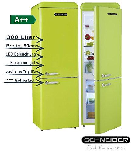Schneider SL300B Retro Design Kühl-Gefrier-Kombination EEK: A++ 60cm breit, 300 Liter 4**** Gefrierteil 190cm hoch (Apfelgrün glänzend)