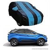 #5: MotRoX Dual Tone Stripe Car Body Cover For Tata Nexon (Navy Blue with Royal Blue Stripe)
