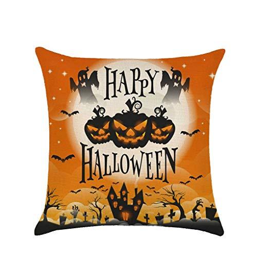 r Halloween-Kürbis Weiche Leinen 45x45cm Wurf Cartoon-Muster Pillowcase für Sofa Wohnkultur ()
