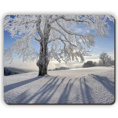 Hochwertige Mausunterlage, Baum-Hoarfrost-Schnee-Schatten verzweigt Sich graue Haar-So-Unterschrift, Spiel-Büro-Mausunterlage -