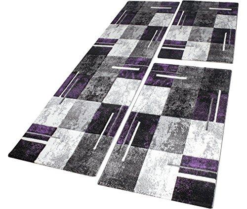 Bettumrandung Teppich Marmor Optik Karo Lila Grau Creme Läuferset 3 Tlg, Grösse:2mal 80x150 1mal 80x300