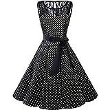 Damen Vintage 50er Cap Sleeves Dot Einfarbig Rockabilly Swing Kleider (Schwarz,S)