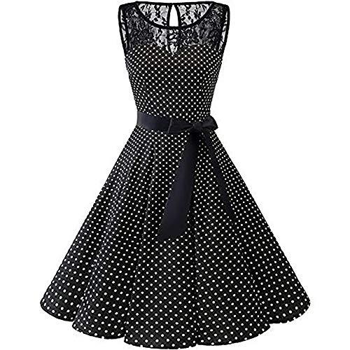 KPILP Frauen Ärmellos Formelle Kleidung 1950er Polka Dot Spitze Plus Größe Hepburn Party Prom Vintage Elegante Schaukel Hohe Taille Gefaltetes Kleid Petticoat(Schwarz,EU-40/CN-M