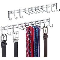 mDesign - Perchero organizador del armario, guarda corbatas, cinturones - de pared - Cromado - Paquete de 2