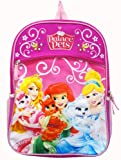 Featured with Disney Princess Characters and Palace Pets in Front;Adjustable lightly padded straps;Two mesh pockets;Large zippered compartment, zippered front pocket;Dimensions: 16 x 12 x 5 inches