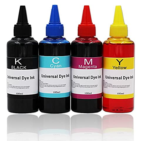 UniPlus 4 Bottles (Black/Cyan/Magenta/Yellow, 100ml Each Color) Universal Bulk Ink