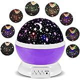 Lámparas Infantiles Lámpara de Proyector Estrella Luces navidad 360 Grados de rotación LED Romántica Lámpara de Noche para niños, Bebés, Regalos de navidad, Dormitorio, Decoración casa (Púrpura)