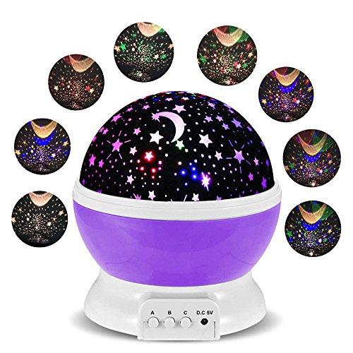 Lampada Proiettore Stelle FKANT Luce Notturna Bambini con 4 Colori Lampadine LED, USB Cavo, 100% Materiali di Sicurezza per Bambino, 3 Pulsanti Possono Offrire 34 Combinazioni Diverse, Ruotabile Proiettore Luci perfetto per Regali di Natale (Viola)