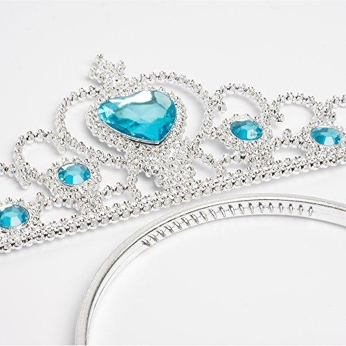 Imagen de katara  accesorios de disfraz de elsa princesa del hielo  conjunto de guantes, tiara, varita mágica y trenza para niñas de 2  9 años  azul claro alternativa