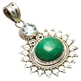"StarGems(tm) Natural Chrysocolla and Blue Topaz Handmade Vintage 925 Sterling Silver Pendant 1 1/2"" S0530"