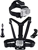 Smatree® Adjustable Head Strap Mount + Chest Harness Belt Strap + Aluminum Thumbscrew + J-Hook for Gopro Hero4 Hero3+ Hero3 Hero2 HD and for SJ4000 SJ5000 Cameras (Black)