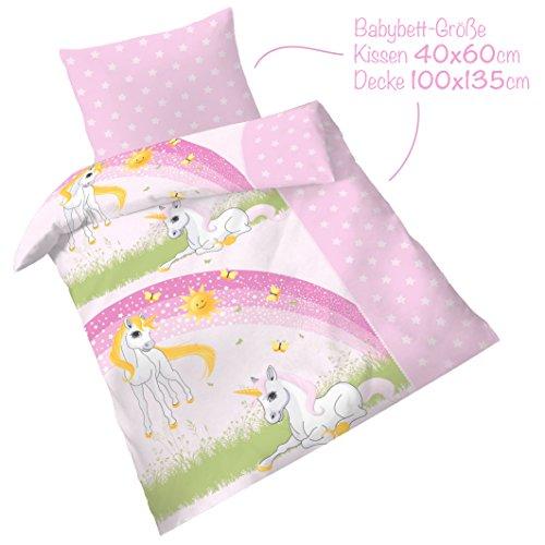 Premium Bettwäsche 100x135 cm inkl. Kissen 40x60 cm ● Einhorn Babybettwäsche ● Oeko-Tex Standard
