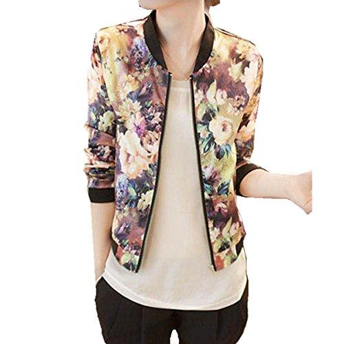 YunYoud Damen Jacke Frau Blumen gedruckt Lange Ärmel Mantel Mode Stehkragen Bomber Jacken Beiläufig Reißverschluss Kurz Outwear Herbst Übergang Sweatjacke (M, Bunt) (Damen-strickjacke Vorderseite)