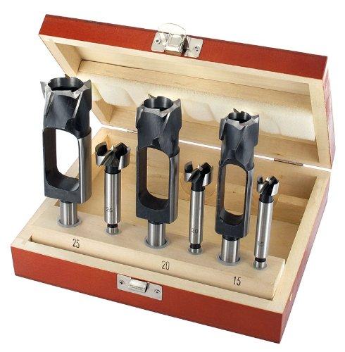 ENT 6-tlg. Zapfenschneider und Forstnerbohrer Set WS - Ø 15 - 20 - 25 mm - für Verbinder, Dübel und Zapfen