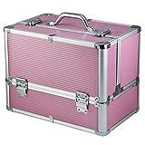 Yahee XL Kosmetikkoffer Schminkkoffer Friseurkoffer Beauty Case 36,5 cm x 22 cm x 27 cm in 3 Farbe Pink -