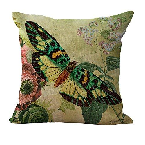 Hengjiang Vintage Couvre-lit Taie d'oreiller Housses de Coussin en Coton et Lin Canapé Home Decor Cadeau Papillon