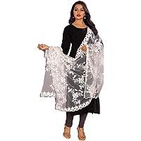Rahulraj Textile Women's Gulab Design Dyeable Net Dupatta (White)