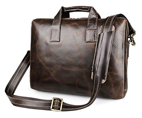 YAAGLE Europärisch echtes Leder Aktentasche Business Taschen Herren Handtasche Kuriertasche Laptoptasche Schultertasche-kaffee