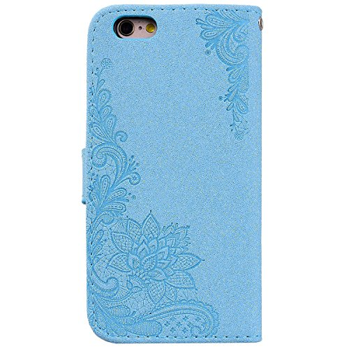 Cover iPhone 6 Libro Nero con Glitter, SMART LEGEND Flip Custodia iPhone 6S con Portafoglio Card Slot Pelle Premium e Silicone TPU Case Fantasia Stampa Fiori, Caso Supreme Ultra Slim Stand Design con  Blu