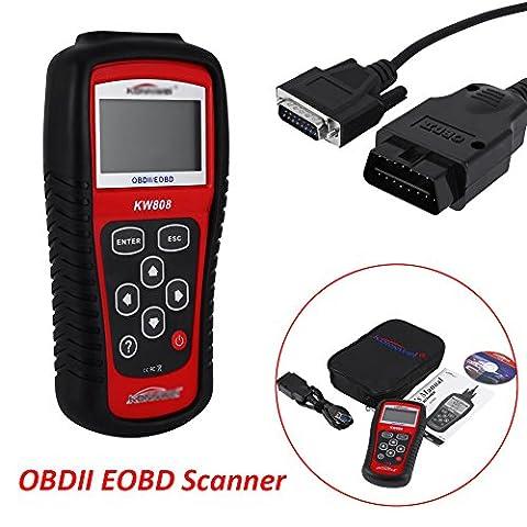KW808 EOBD OBDII Lecteur de code de diagnostic de voiture Diagnostic testeur de diagnostic scanner voiture lecteur de code Multiplexeur pour les véhicules avec CD