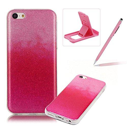 iPhone 5C Hülle Weiches Silikon Glitzer Schutzhülle Tasche Case,iPhone 5C Hochwertig Leicht Gummi Schutz Hoch Handyhüllen Schale Etui,Herzzer Modisch Luxus Silikon Bunt Hülle [Farbverlauf Gradient Far Heiß Rosa