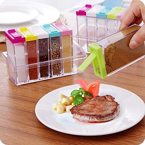 Candora 6pcs barattolo di vetro trasparente condimento box della ...