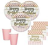 KPW 36 Teile Pink Chic Happy Birthday Party Deko Set in Rosa und Gold zum Geburtstag für 8 Personen
