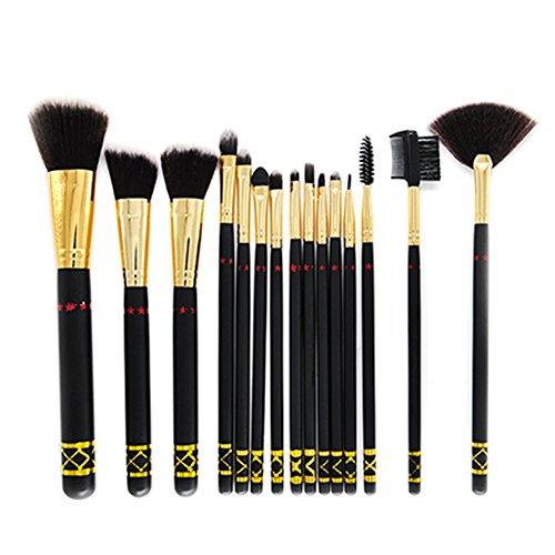 Cdet. 15Pcs Pinceau Maquillage avec en Visage Oeil Manche en Bois Brush Cosmétiques Ensemble Fondation Mélange Blush Yeux Visage Poudre à Sourcils Brosse Make Up Noir