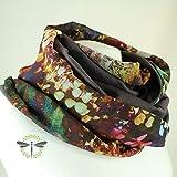 Loop-Schal Damen braun natur mehrfarbig 2 Stoffe