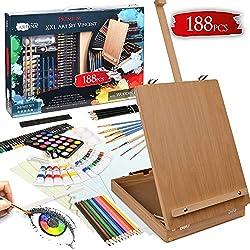 Artina Set de Peinture Vincent 188 pièces avec Chevalet - Coffret de Peinture pour débutants et Artistes INCL. Pastels à lŽHuile, Godets dŽAquarelle, Couleurs acryliques, Crayons, pinceaux