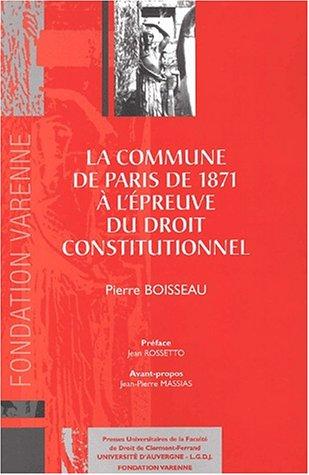 La Commune de Paris de 1871 à l'épreuve du droit constitutionnel